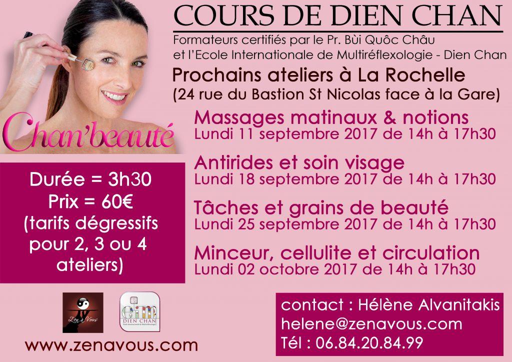 Ateliers Dien Chan & Chan'beauté à La Rochelle de septembre & Octobre 2017