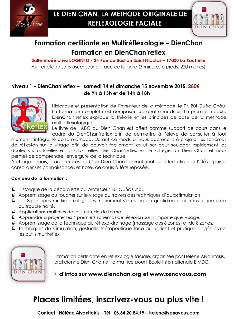 Bulletin d'inscription Formation DienChan'reflex Novembre 2015